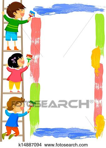 Clipart of kids painting frame k14887094 - Search Clip Art ...