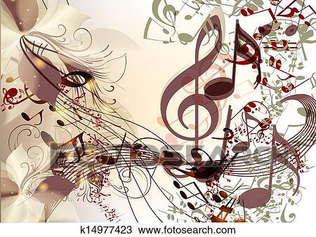 kreativ, musik, hintergrund, in, psychedelisch, stil, mit