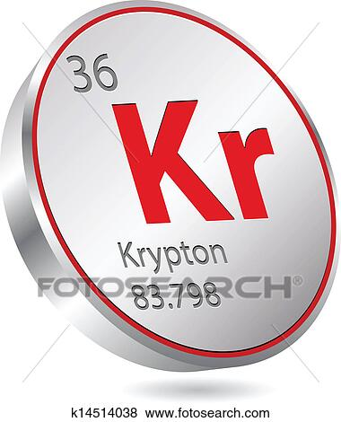 Clip Art Of Krypton Element K14514038 Search Clipart Illustration