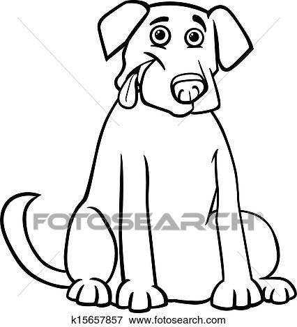 Black And White Cartoon Illustration Of Funny Purebred Labrador Retriever Dog For Children To Coloring Book