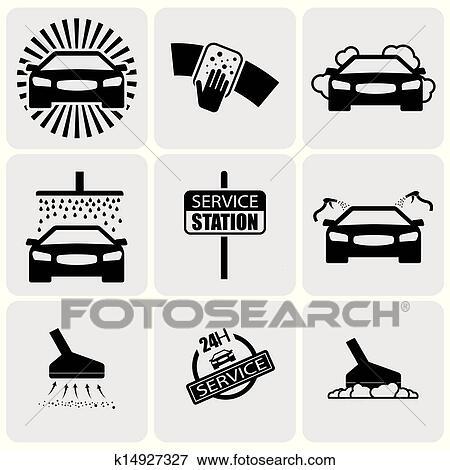 lavage voiture icons signs ensemble de nettoyage car