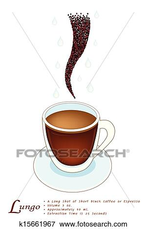 Lungo Coffee in A White Glass Cup Clip Art | k15661967 ...