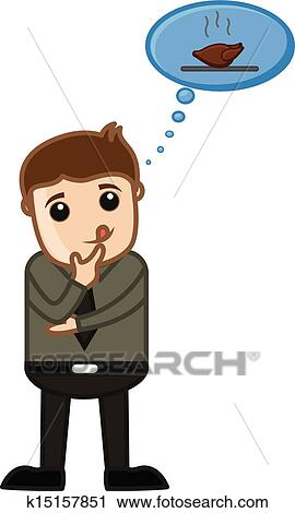 Drawing Art Of Cartoon Man Dreaming For Food Vector Illustration