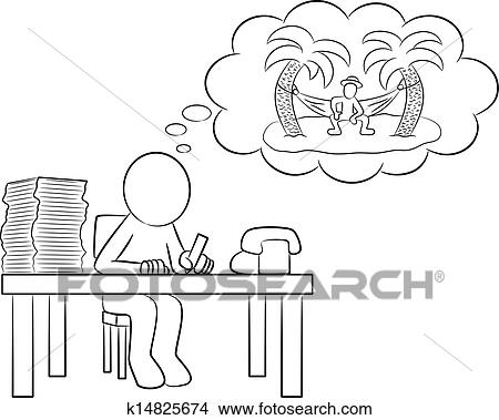 Man In Office Dreaming Of Vacation Clipart