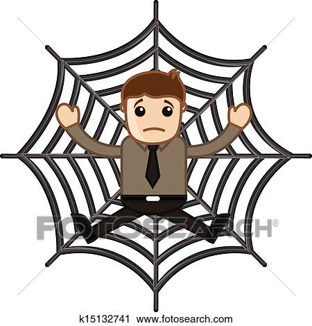 clipart of man stuck in spider web k15132741 search clip art rh fotosearch com  cobweb clipart