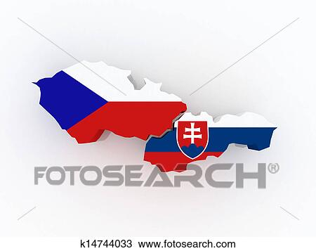 Drawing Of Map Of Czech Republic And Slovakia K14744033 Search