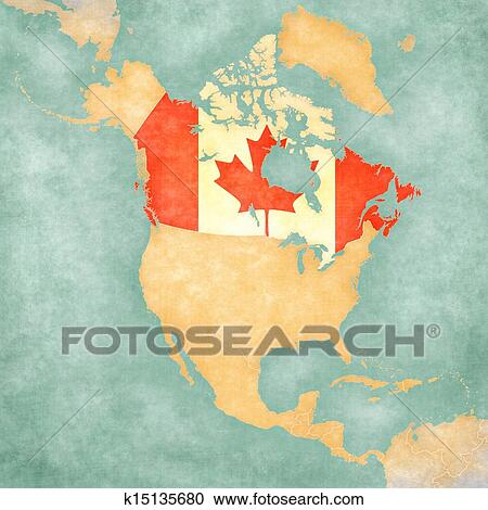 Map of North America - Canada (Vintage Series) Clipart