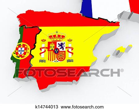 Map Of Spain Drawing.Map Of Spain And Portugal Drawing K14744013 Fotosearch