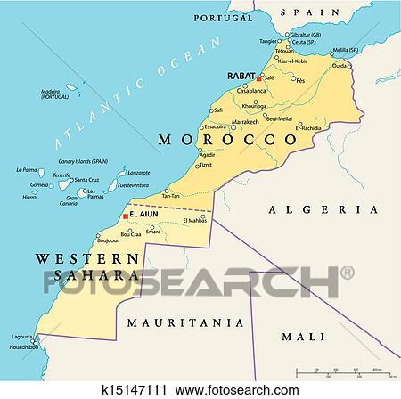 Cartina Marocco Politica.Marocco E Sahara Occidentale Politica Clipart K15147111 Fotosearch