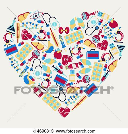 clipart of medical and health care icons in the shape of heart rh fotosearch com health clip art free health clipart