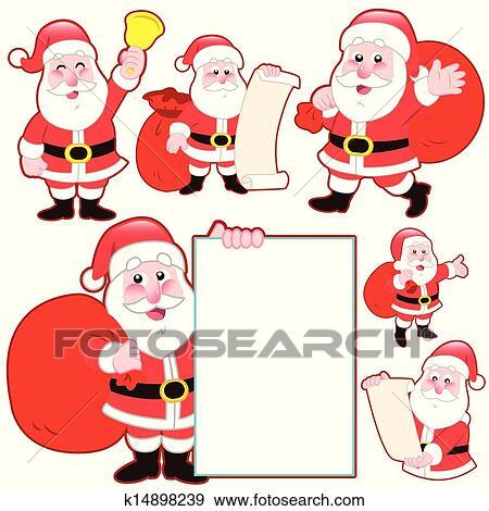 Mignon Dessin Animé Père Noël Collection Clipart