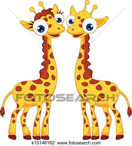 Dessin Girafe Rigolote clipart - mignon, girafe, dessin animé, couple k15146162