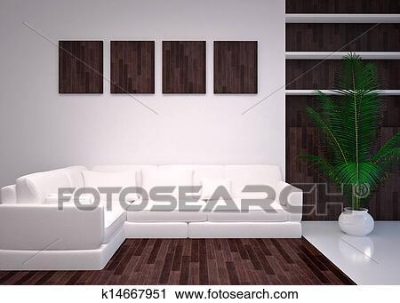 Moderne, intérieur, salle de séjour, salon Clipart