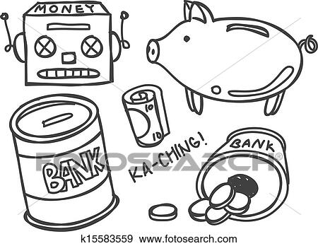 Clip Art Of Money Bank K15583559