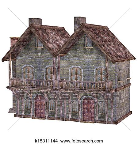 Dessins moyen ge maison ville isol sur les fond blanc k15311144 recherche de clip - Dessins moyen age ...