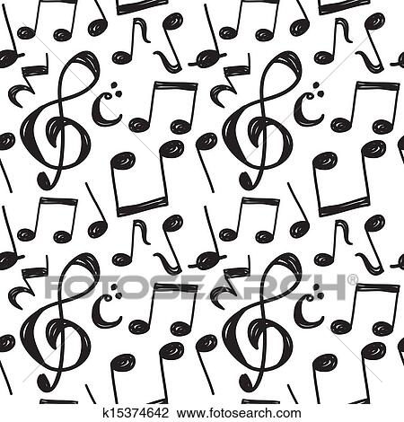 Clipart Of Music Note Pattern K15374642