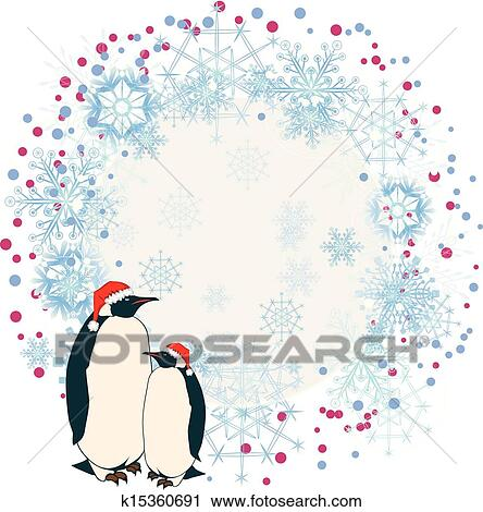 clipart new year frame with penguins fotosearch search clip art illustration murals