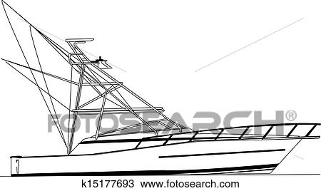 Offshore Fishing Boat Vector Clipart K15177693 Fotosearch