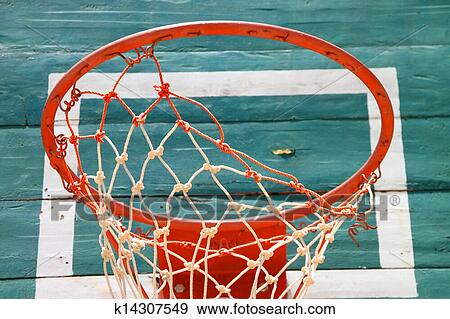 Stock Photograph Of Old Basketball Net And Green Board K14307549