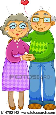 clipart of old couple k14752142 search clip art illustration rh fotosearch com old couple clipart free funny old couple clipart