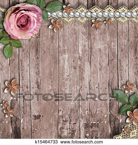 Drawing of old wooden background with a rose paper flowers pearls old wooden background with a rose paper flowers pearls mightylinksfo