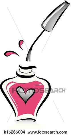 clipart of open bottle of pink nail polish k15265004 search clip rh fotosearch com nail polish clip art images nail polish clipart images