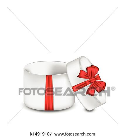 Clip Art Of Open Gift Box With Red Bow Isolated On White Background