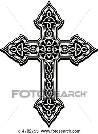 Clipart Of Ornate Christian Cross K14782755 Search Clip
