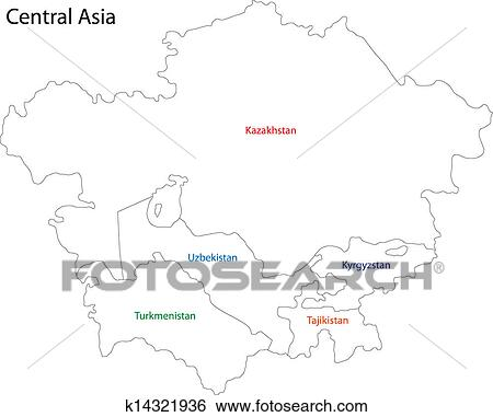 Outline Central Asia Clip Art | k14321936 | Fotosearch