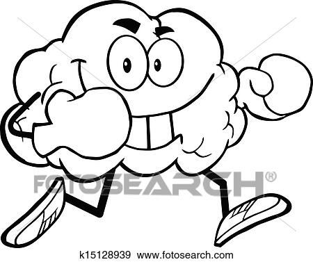Clip Art Of Outlined Brain With Boxing Gloves K15128939