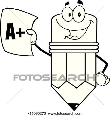 clipart of outlined pencil holding report card k15090270 search rh fotosearch com report card clipart images school report card clipart