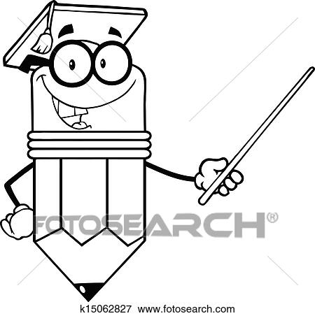 clip art of outlined pencil teacher k15062827 search clipart rh fotosearch com clipart black and white teacher in classroom cute clipart for teachers black and white