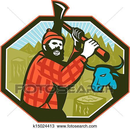 589bf3b1 Illustrasjon, av, paul bunyan, ei, lumberjack, sawyer, skog, arbeider,  svinging, ei, øks, med, tre stumps, og, baby, det, blå okse, okse, ku, inn,  bakgrunn, ...