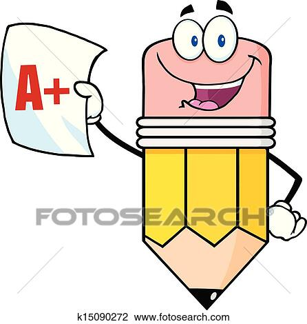 clipart of pencil holding a report card k15090272 search clip art rh fotosearch com report card clip art free school report card clipart