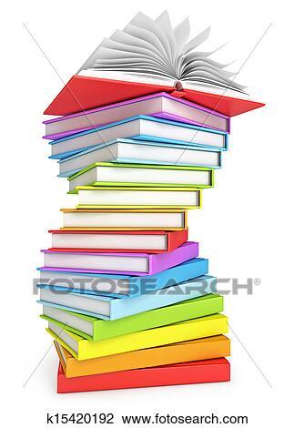 Pile Livres A Livre Ouvert Sur Les Sommet Dessin