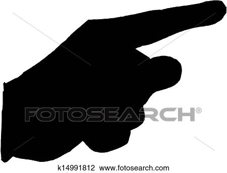 pointing hand vector silhouette clipart k14991812 fotosearch https www fotosearch com csp993 k14991812