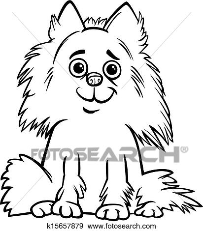 Black And White Cartoon Illustration Of Cute Shaggy Purebred Pomeranian Dog For Children To Coloring Book