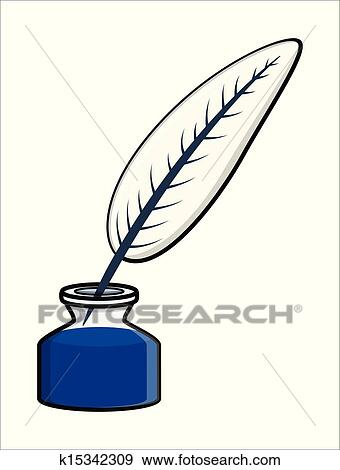 clip art of quill inkpot vector illustration k15342309 search rh fotosearch com scroll and quill clipart clipart quill pen