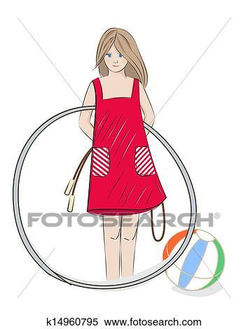 più popolare vendita a buon mercato usa Cheaper Ragazza, con, cerchio hula, palla spiaggia, e, corda salto Clipart ...