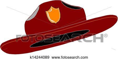 clip art of red fire fighter fireman helmet hat k14244089 search rh fotosearch com