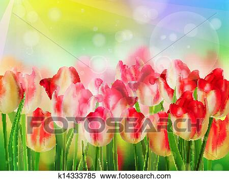 Red tulip bokeh template  EPS 10 Clipart