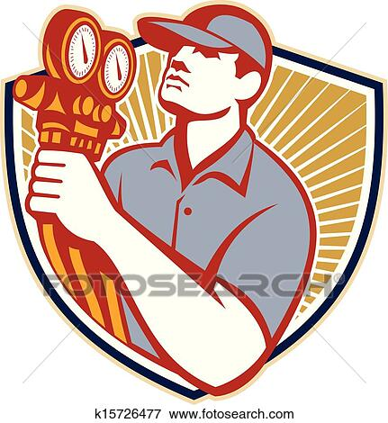 clip art of refrigeration air conditioning mechanic shield k15726477 rh fotosearch com hvac clipart free