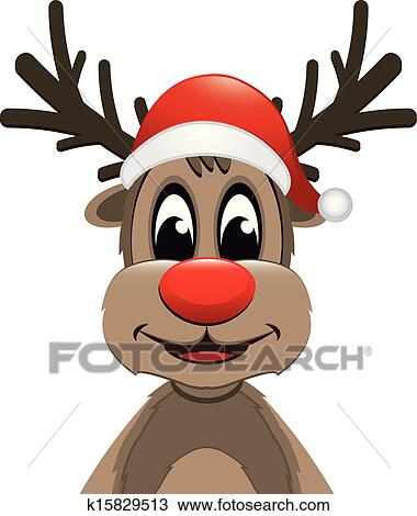 f0eb716cdc0e7 Reindeer red nose with santa hat Clipart