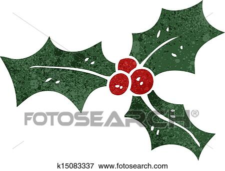 Christmas Holly Cartoon.Retro Cartoon Christmas Holly Clip Art