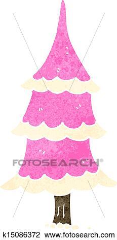Retro Cartoon Pink Christmas Tree Clipart