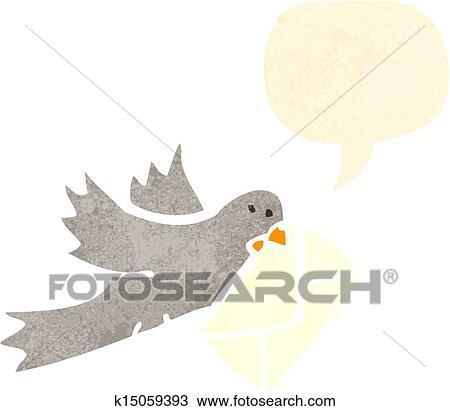 Clipart Retro Dessin Animé Pigeon Porter Lettre K15059393