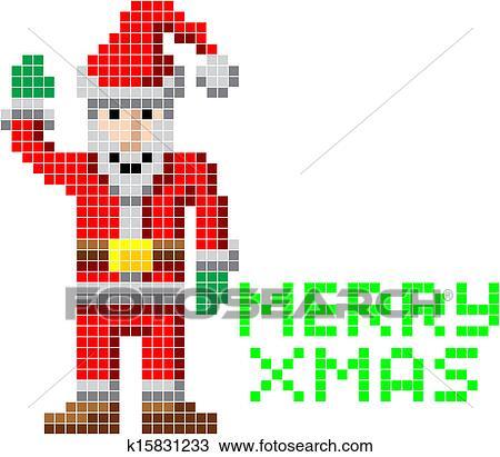 Retro Pixel Art Noël Santa Clipart