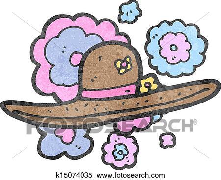 db38822f8 Retro, rysunek, słomiany kapelusz Klipart   k15074035   Fotosearch