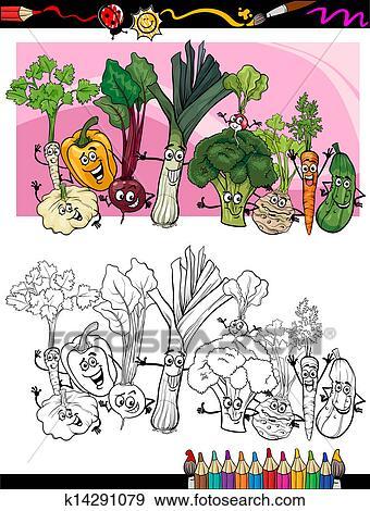 Rigolote Legumes Dessin Anime Pour Livre Coloration Clipart