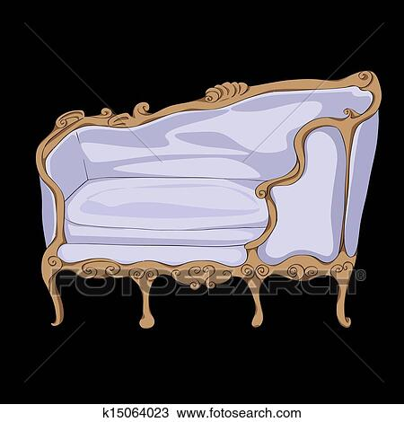Rococo Sofa Hand Drawn Illustration, Cartoon Over A Black Background